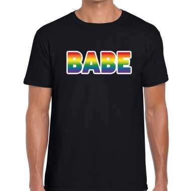 Babe regenboog gaypride shirt zwart voor heren