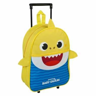 Baby shark trolley/reiskoffer geel/blauw 40 cm voor kinderen