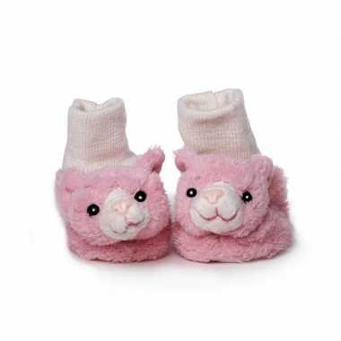 Babyslofjes roze kat/poes