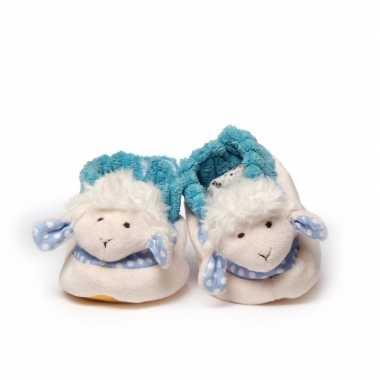 Babyslofjes wit blauw schaap lammetje