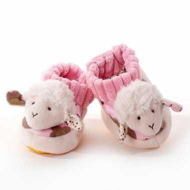 Babyslofjes wit roze schaap lammetje