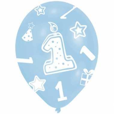 Ballonnen blauw 1 jaar 6 stuks