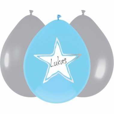 Ballonnen ster geboorte jongen 18x stuks