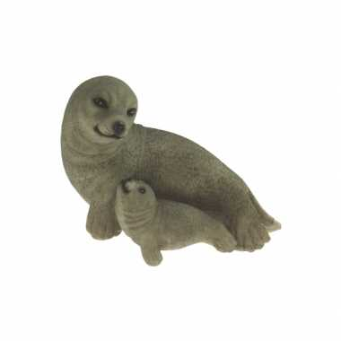 Beeldje zeehond inclusief baby 11 cm