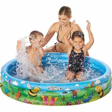 Blauw/bloemen opblaasbaar zwembad 122 x 23 cm speelgoed