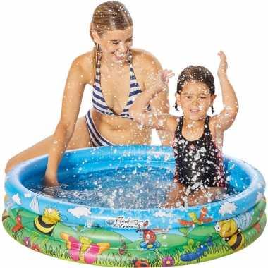 Blauw/bloemen opblaasbaar zwembad baby badje 100 x 23 cm speelgoed