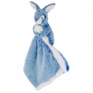 Blauw konijn/haas tuttel/knuffeldoekje 25 cm