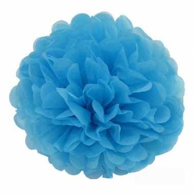 Blauwe decoratie pompom 35 cm