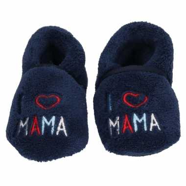 Blauwe jongens/meisjes baby slofjes i love mama