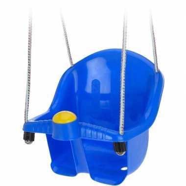 Blauwe peuterschommel met touw