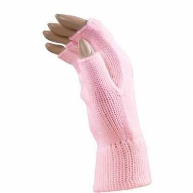 Carnaval vingerloze handschoenen licht roze voor volwassenen