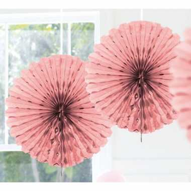 Decoratie waaier licht roze 45 cm
