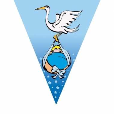 Geboorte vlaggenlijn blauw met ooievaar