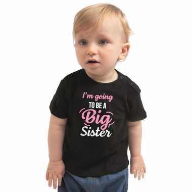 Going to be a big sister cadeau t-shirt zwart baby/ meisje - aankodiging zwangerschap grote zus