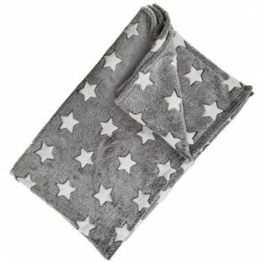 Grijs fleece dekentje met sterren
