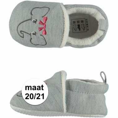 Grijze babyslofjes met olifantje maat 20/21