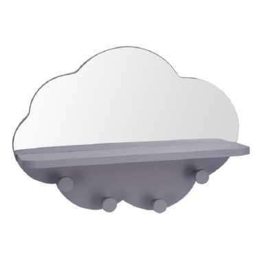 Grijze kapstok met spiegel wolk vorm 39 cm kinderkamer accessoires