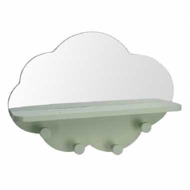 Groene kapstok met spiegel wolk vorm 39 cm kinderkamer accessoires