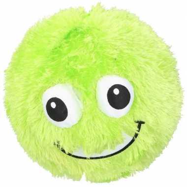 Groene pluche bal met gezicht 23 cm