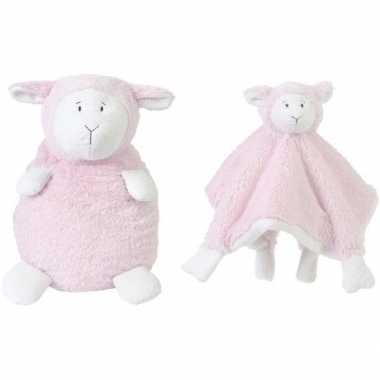Happy horse lammetje roze knuffeldoekje en knuffel zittend 26cm