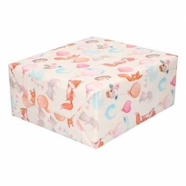 Inpakpapier/cadeaupapier baby 200 x 70 cm dieren print