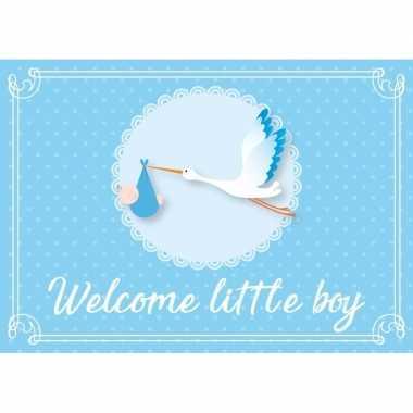 Jongen geboren ansichtkaart/wenskaart ooievaar kraamcadeau