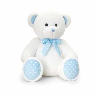 Keel toys pluche baby boy beer knuffel wit met blauw 25 cm