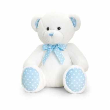 Keel toys pluche baby boy beer knuffel wit met blauw 35 cm