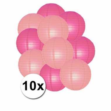 Lampionnen pakket roze en lichtroze 10x