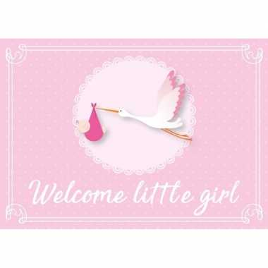 Meisje geboren ansichtkaart wenskaart ooievaar kraamcadeau