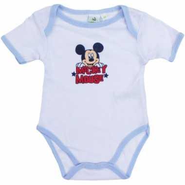 Mickey korte mouw rompertje wit/lichtblauw