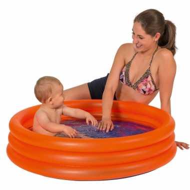 Oranje opblaasbaar zwembad baby badje 100 x 23 cm speelgoed