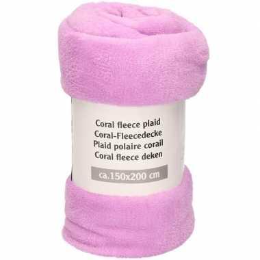 Paarsroze fleece deken 150 x 200 cm
