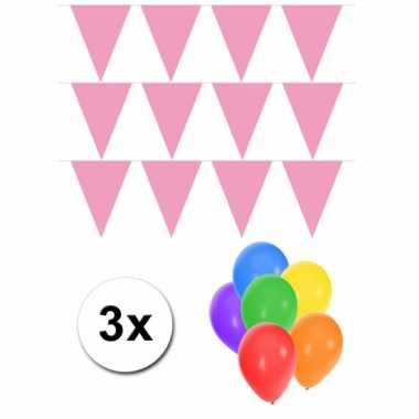 Pakket 3x vlaggenlijn xl lichtroze incl gratis ballonnen