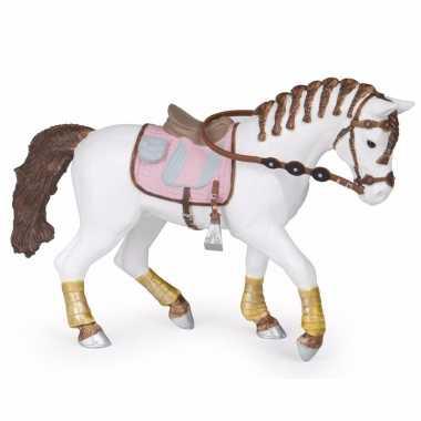Plastic paard met gevlochten manen 14.5 cm