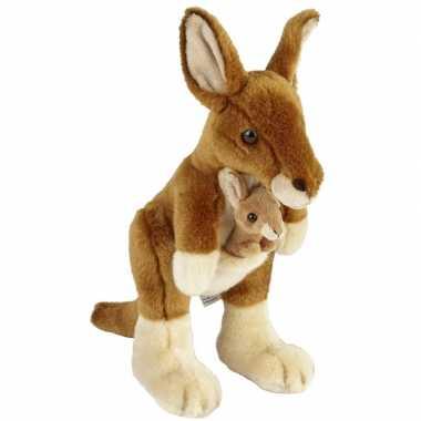 Pluche bruine kangoeroe met baby knuffel 28 cm speelgoed