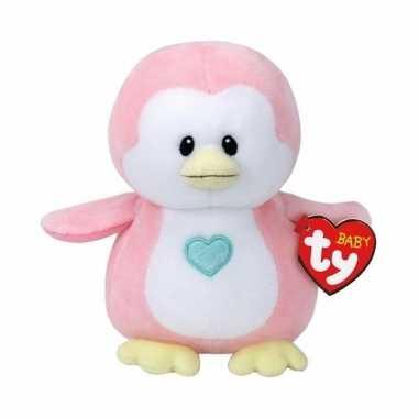 Pluche knuffel roze pinguin ty beanie/baby penny 17 cm