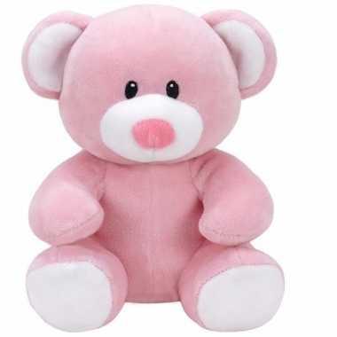 Pluche knuffel roze teddybeer ty beanie/baby princess 24 cm