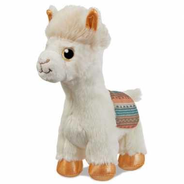 Pluche witte alpaca/lama knuffel 18 cm speelgoed