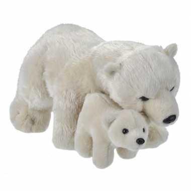 Pluche witte ijsbeer met baby ijsberen knuffels 38 cm speelgoed