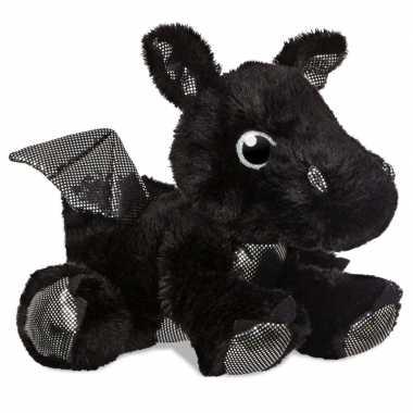 Pluche zwarte draak knuffel 30 cm speelgoed