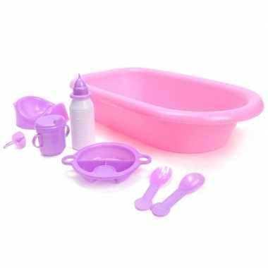 Poppen speelgoed badset 8 delig roze/paars