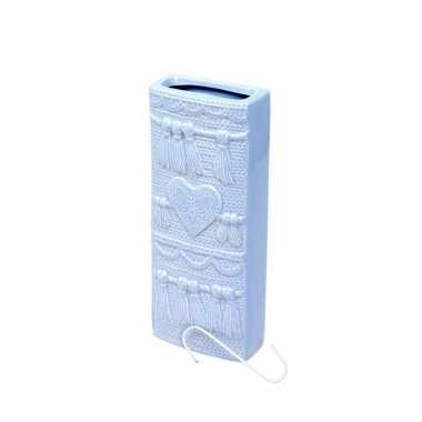 Radiator bak luchtbevochtiger / waterverdamper rechthoekig hart design babyblauw 19 cm