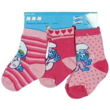 Roze baby sokken smurfen 3-pak