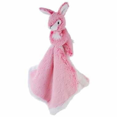 Roze konijn/haas tuttel/knuffeldoekje 25 cm