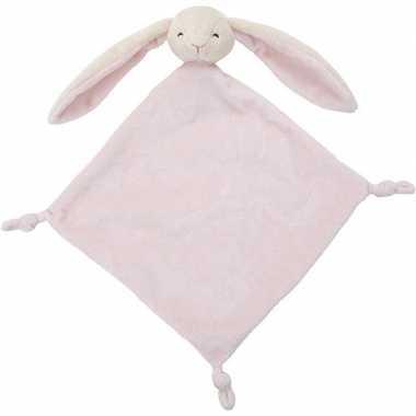 Roze konijn/haas tuttel/knuffeldoekje 40 cm