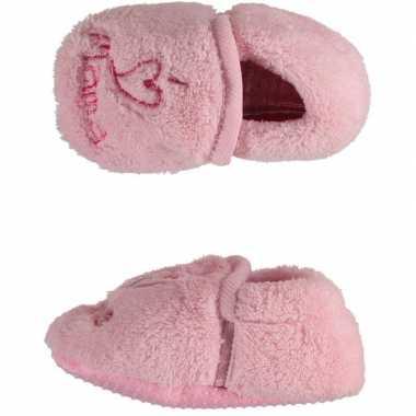 Roze meisjes babyslofjes i love mama