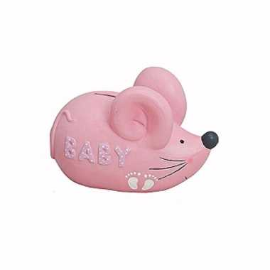 Roze spaarpot muis voor baby meisjes