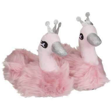 Roze zwaan dieren pantoffels sloffen voor meisjes