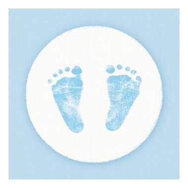 Servetten geboorte jongen blauw/wit 3-laags 20 stuks